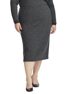 Lauren Ralph Lauren Plus Plaid Merino Wool Skirt