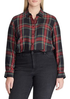 Lauren Ralph Lauren Plus Crest Tartan Twill Button-Down Shirt