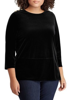 Lauren Ralph Lauren Plus Georgette Velvet Tunic Top