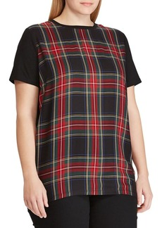 Lauren Ralph Lauren Plus Plus Plaid-Panel Tee