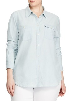 Lauren Ralph Lauren Plus Buttoned Chambray Shirt