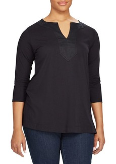 Lauren Ralph Lauren Plus Cotton Splitneck Tunic
