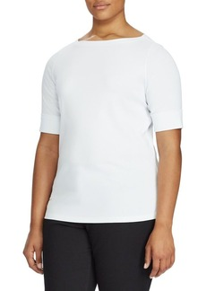 Lauren Ralph Lauren Plus Plus Size Stretch Cotton Boatneck Top