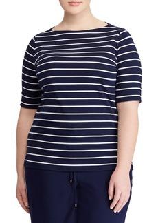 Lauren Ralph Lauren Plus Striped Cotton Boatneck T-Shirt