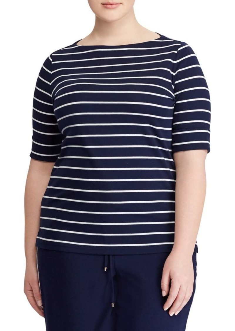 Lauren Ralph Lauren Plus Striped Cotton Boatneck T-Shirt