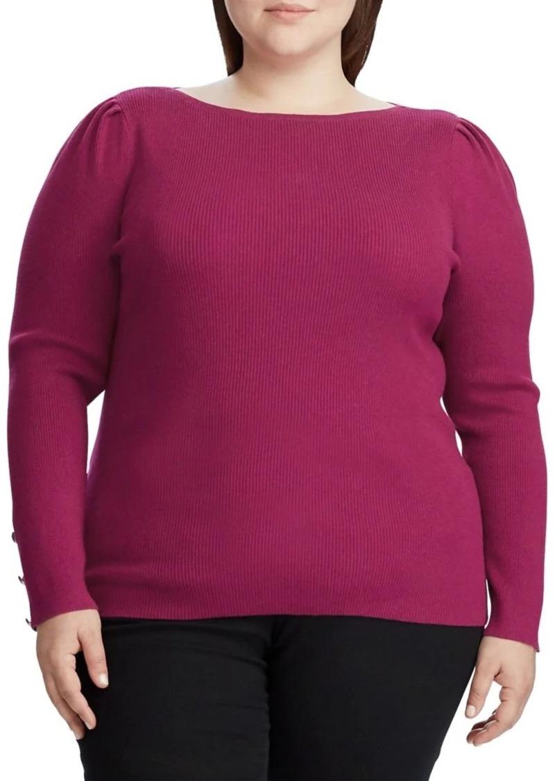 Lauren Ralph Lauren Plus Puff-Sleeve Boatneck Cotton-Blend Sweater