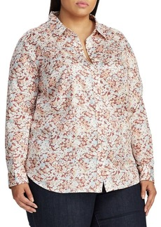 Lauren Ralph Lauren Plus Relaxed-Fit Cotton Sateen Button-Down Shirt
