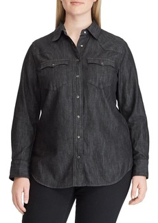 Lauren Ralph Lauren Plus Relaxed-Fit Denim Western Button-Down Shirt