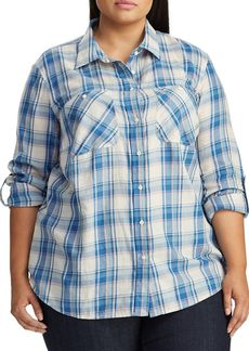 Lauren Ralph Lauren Plus Relaxed-Fit Plaid Button-Down Shirt