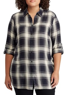 Lauren Ralph Lauren Plus Relaxed-Fit Plaid Twill Button-Down Shirt