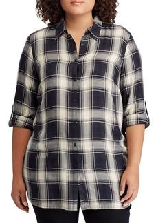 Lauren Ralph Lauren Plus Relaxed-Fit Plaid Twill Button-Down Shirt