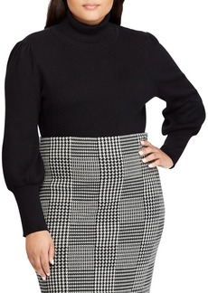 Lauren Ralph Lauren Plus Ribbed Puff-Sleeve Sweater
