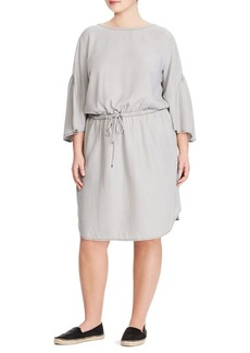 Lauren Ralph Lauren Plus Ruffle-Sleeve Drawstring Dress