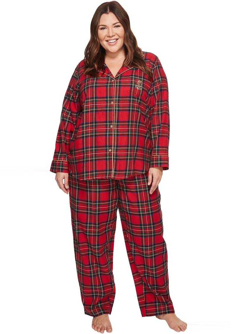 315cfbfadac LAUREN Plus Size Folded Brushed Twill Notch Collar Pajama. Ralph Lauren