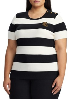 Lauren Ralph Lauren Plus Slim-Fit Stripe Button-Trimmed Cotton Blend Sweater