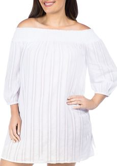 Lauren Ralph Lauren Plus Smocked Tunic Swim Cover-Up