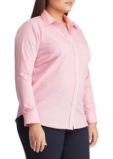 Lauren Ralph Lauren Plus Straight-Fit Striped Cotton-Button Down Shirt