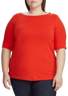 Lauren Ralph Lauren Plus Stretch Cotton Boatneck Top