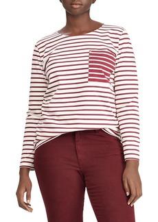 Lauren Ralph Lauren Plus Striped Cotton Pocket T-Shirt