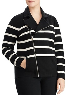 Lauren Ralph Lauren Plus Striped Moto Jacket