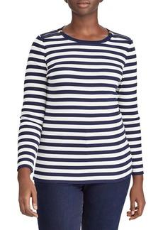 Lauren Ralph Lauren Plus Striped Shoulder Zip Top