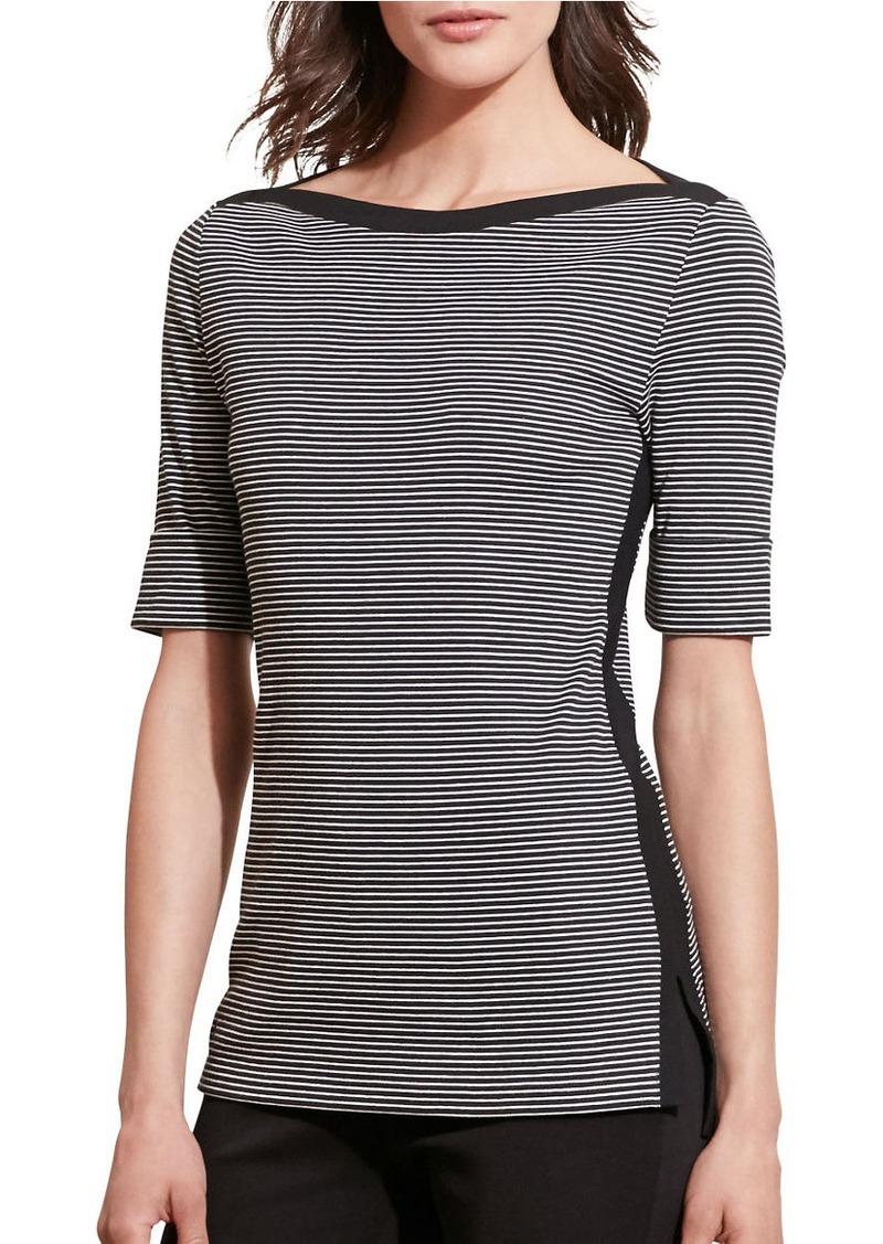 LAUREN RALPH LAUREN Plus Striped Stretch Cotton T-Shirt
