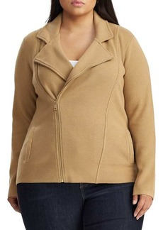 Lauren Ralph Lauren Plus Sweater-Knit Cotton Blend Moto Jacket