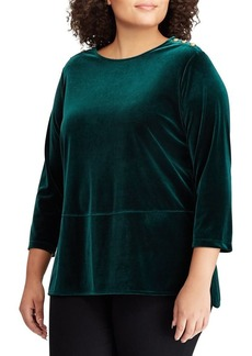 Lauren Ralph Lauren Plus Velvet Three-Quarter Sleeve Top