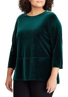 Lauren Ralph Lauren Plus Velvet Three-Quarter Sleeve Top