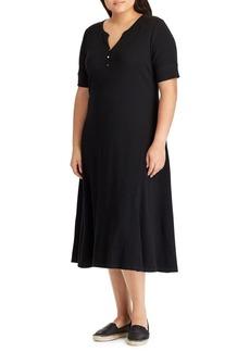 Lauren Ralph Lauren Plus Waffle-Knit Cotton Henley Dress