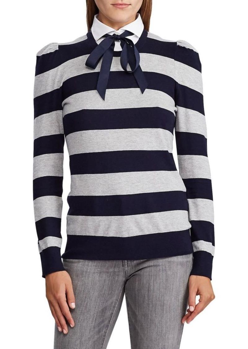 Lauren Ralph Lauren Point Collar Striped Cotton-Blend Sweater