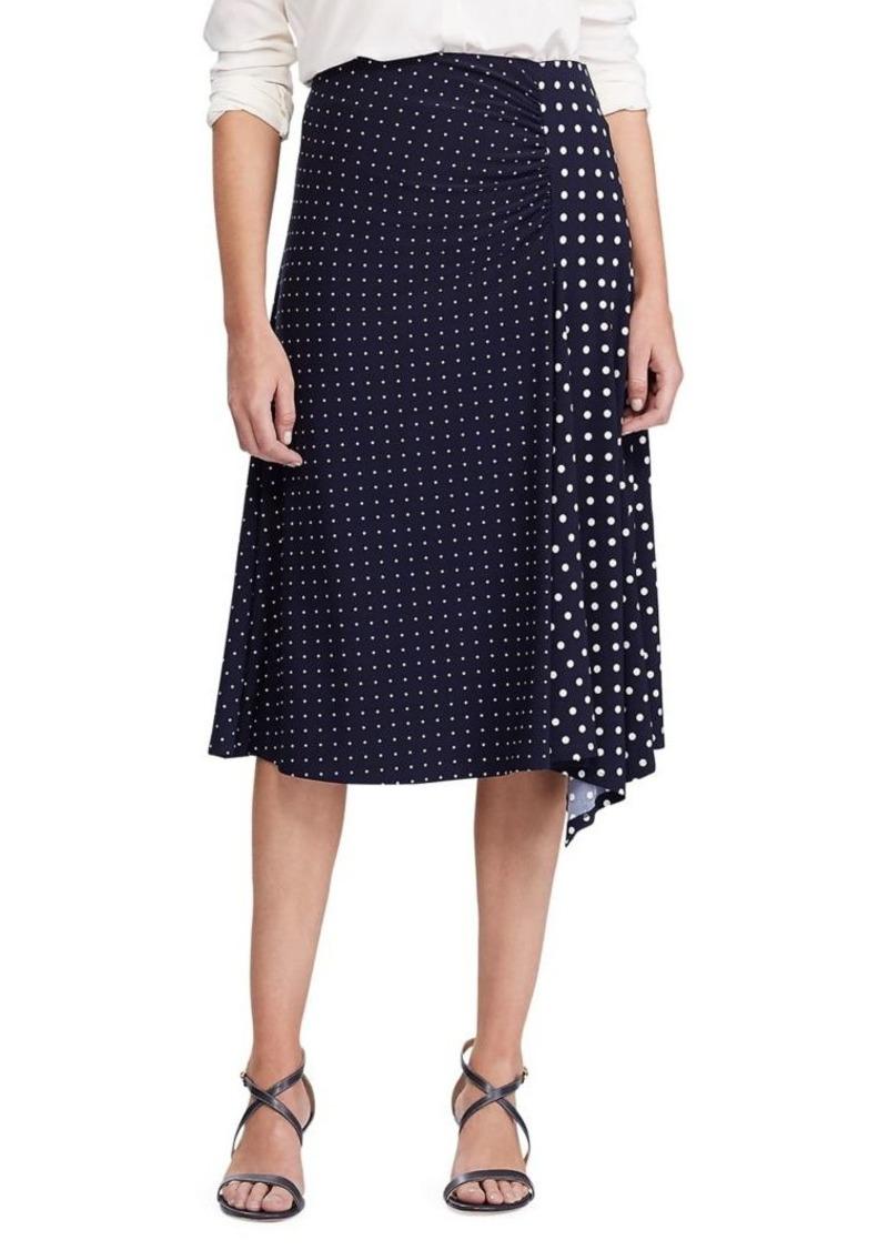 Lauren Ralph Lauren Polka Dot-Print Stretch Jersey Knee-Length Skirt