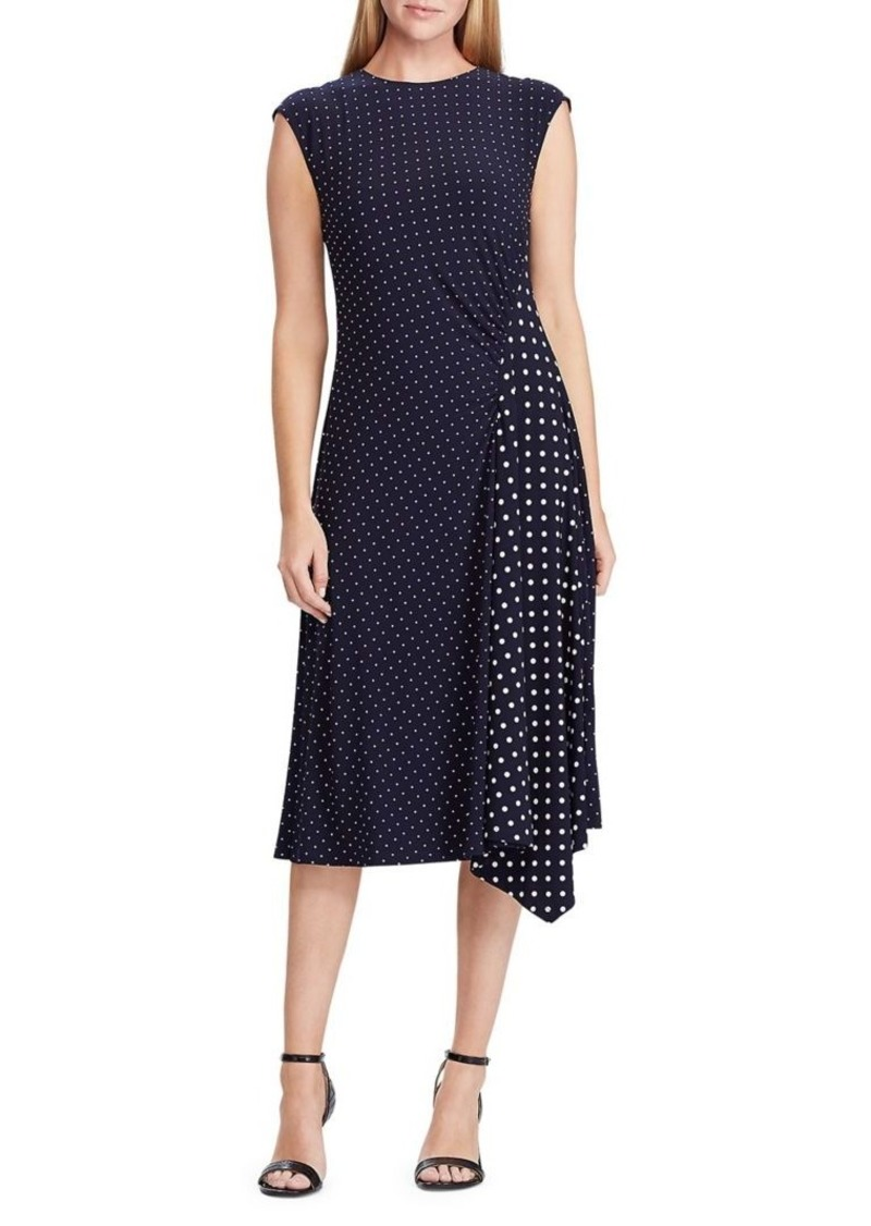 Lauren Ralph Lauren Polka-Dot Stretch Jersey Dress