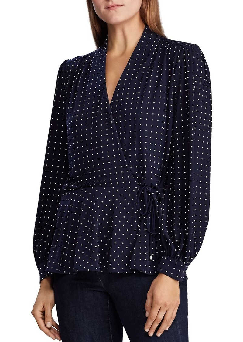Lauren Ralph Lauren Polka Dot Wrap Top