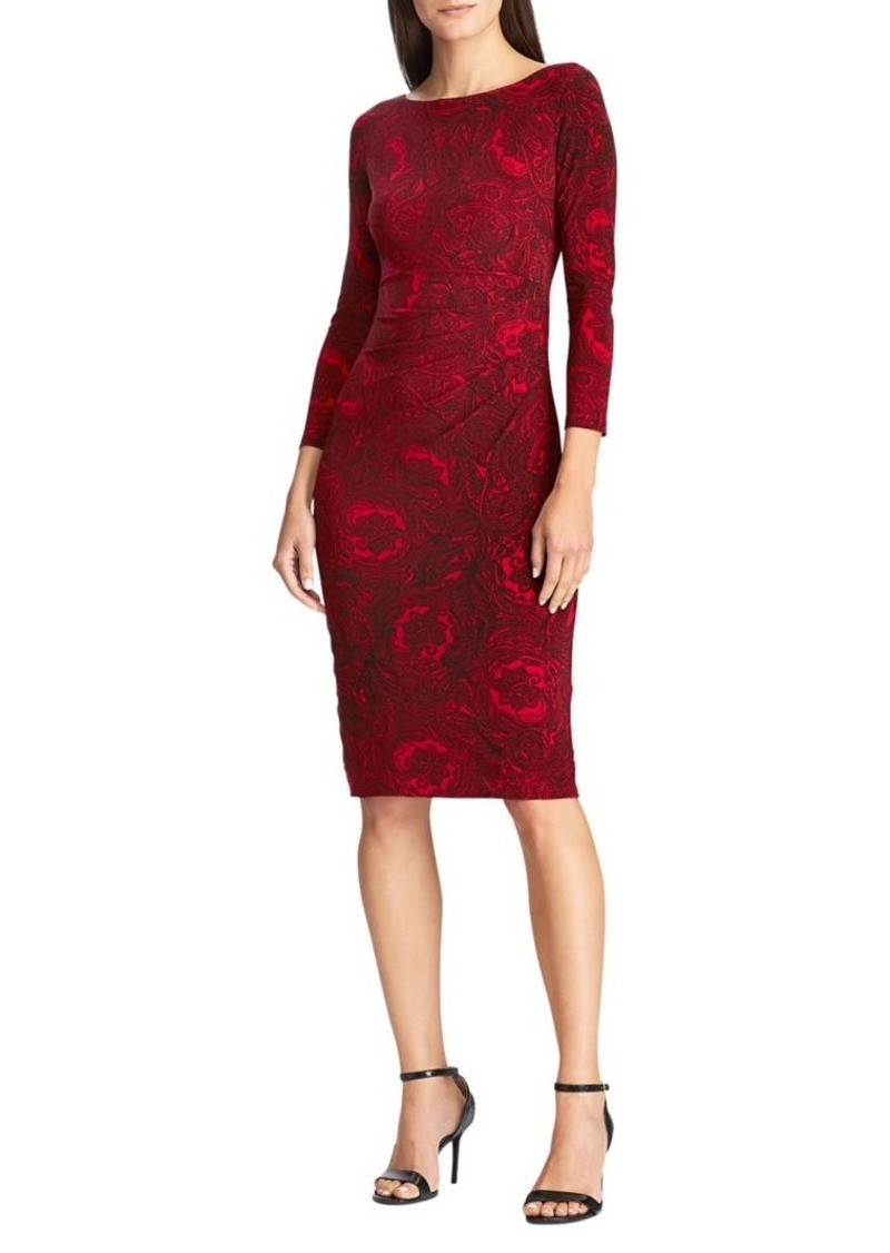 Lauren Ralph Lauren Printed Jersey Sheath Dress