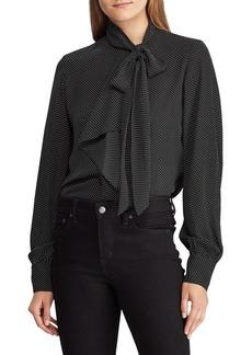 Lauren Ralph Lauren Printed Tie-Neck Blouse
