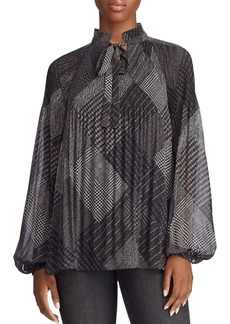 Lauren Ralph Lauren Printed Tie-Neck Top