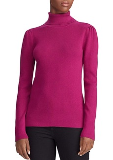 Lauren Ralph Lauren Puff-Shoulder Ribbed Turtleneck Sweater