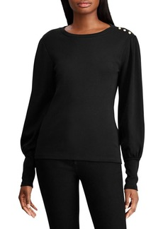 Lauren Ralph Lauren Puff-Sleeve Cotton Top