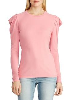 Lauren Ralph Lauren Puffed-Sleeve Cotton-Blend Jersey Top