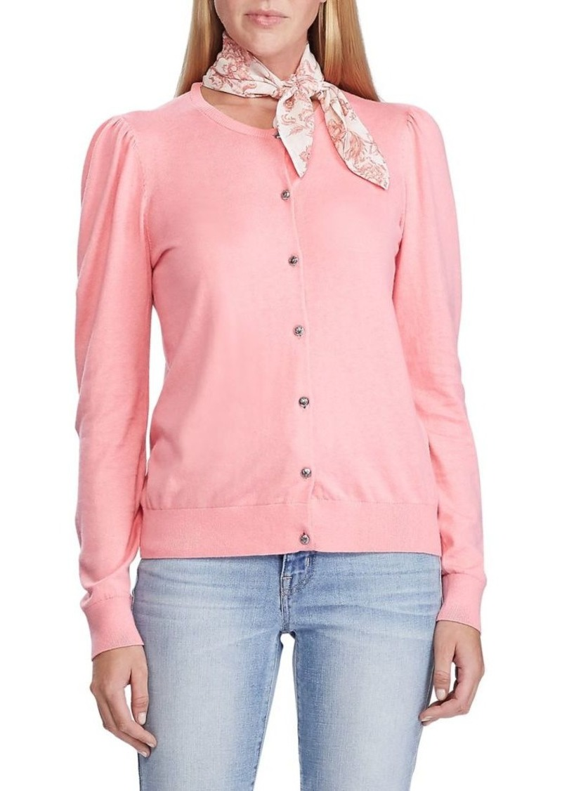 Lauren Ralph Lauren Puffed-Sleeve Slim-Fit Cotton-Blend Cardigan