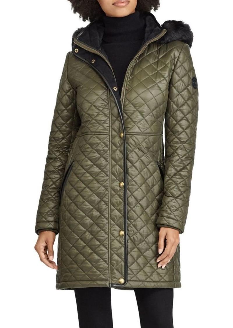 Lauren Ralph Lauren Quilted Faux Fur Hooded Coat