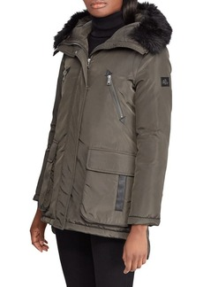 Lauren Ralph Lauren Quilted Hooded Faux Fur Coat