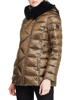 Lauren Ralph Lauren Quilted Hooded Faux Fur Jacket
