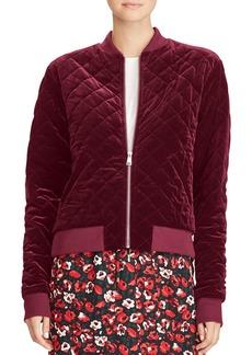 Lauren Ralph Lauren Quilted Velvet Bomber Jacket