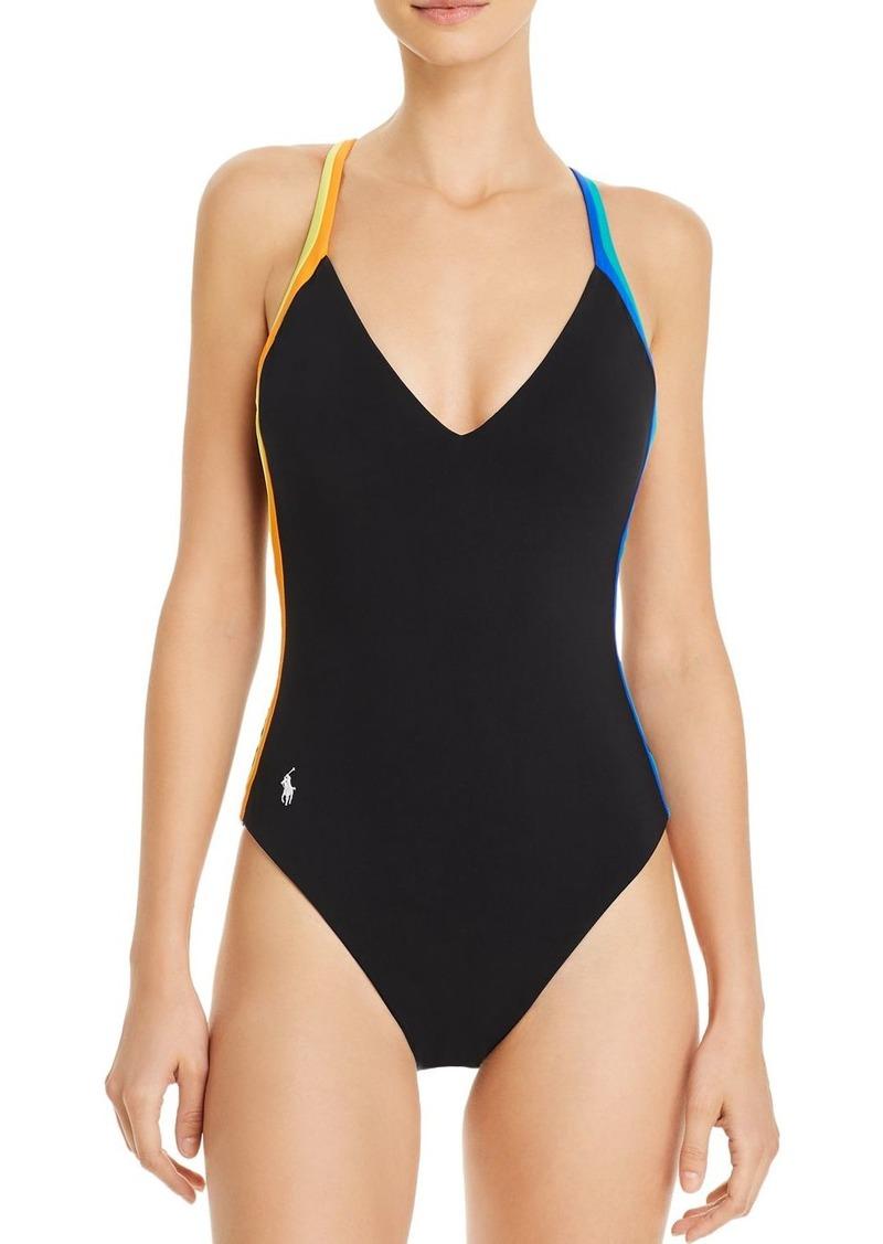 Lauren Ralph Lauren Racing Stripe Plunge One Piece Swimsuit