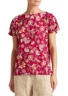 Lauren Ralph Lauren Relaxed-Fit Floral-Print Linen-Blend Tee