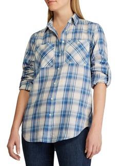 Lauren Ralph Lauren Relaxed-Fit Plaid Roll-Tab Sleeve Cotton Shirt