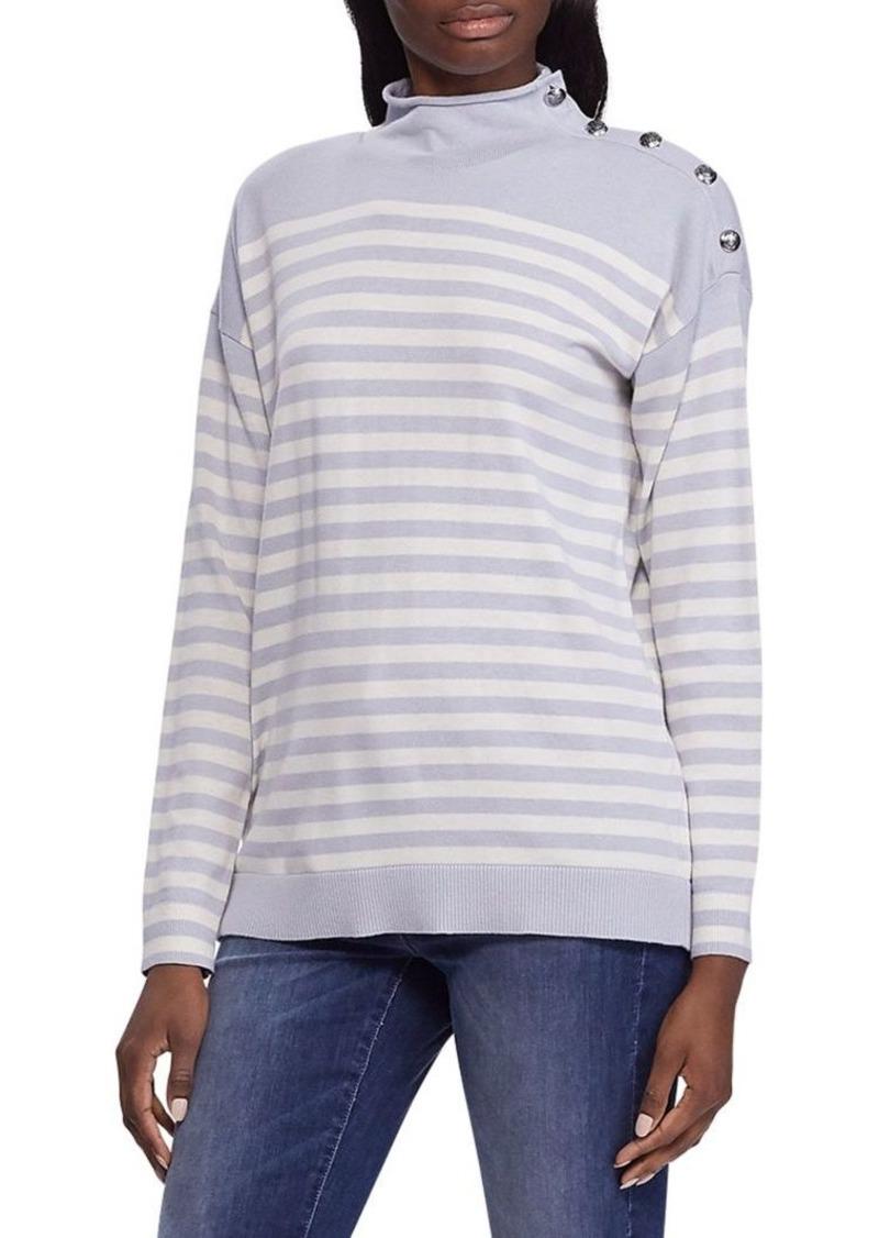 Lauren Ralph Lauren Relaxed-Fit Striped Button-Trim Cotton-Blend Sweater