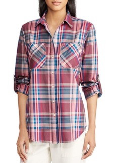 Lauren Ralph Lauren Roll-Sleeve Plaid Shirt
